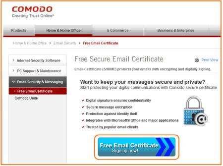 Bild 1: Anforderung eines Zertifikats von Comodo