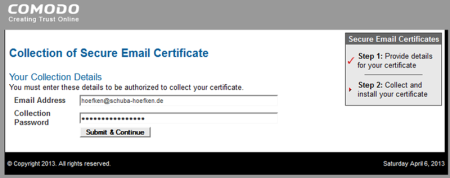Bild 5: Abrufen des Zertifikats bei Comodo