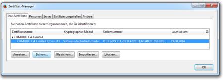 Bild 10: Sichern (Exportieren) eines installierten Zertifikats.