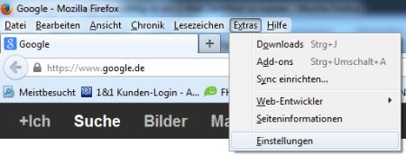 Bild 1: Einstellungen in Firefox