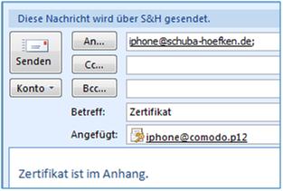 Bild 1: Email mit dem geheimen Schlüssel und dem Zertifikat