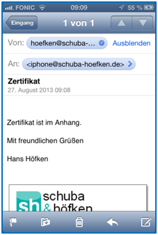 Bild 2: Email auf iPhone öffnen