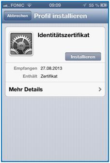 Bild 4: Installation des Zertifikats auf dem iPhone