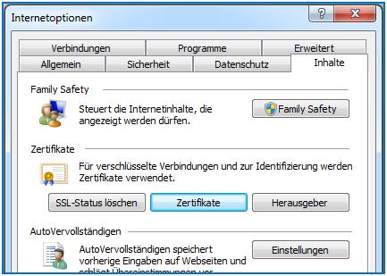 Bild 9: Öffnen des Zertifikatspeichers vom Internet Explorer