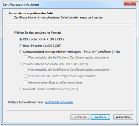 Bild 12: Einstellung des Dateiformats.