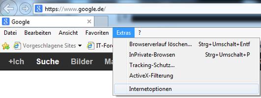 Bild 1: Internet Optionen im Internet Explorer