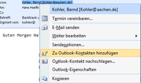 Bild 13: Absender einer signierten Email zu den Kontakten zufügen