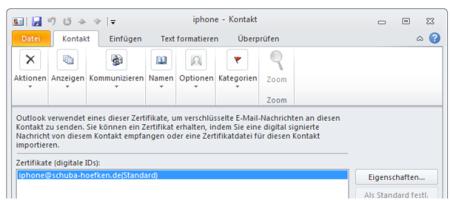 Bild 17: Anzeige des Zertifikats eines Outlook-Kontakts