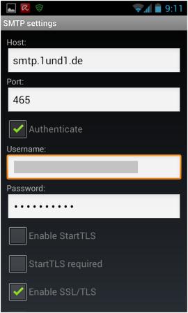 Abbildung 7: SMTP Einstellungen eingeben