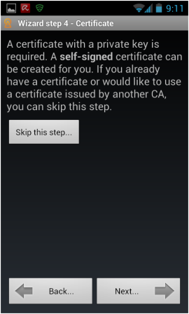 Abbildung 8: Assistent Schritt 4 – Zertifikatinstallation überspringen