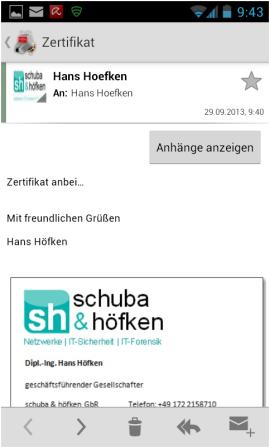 Abbildung 13: Geöffnete Email mit Zertifikat und privatem Schlüssel