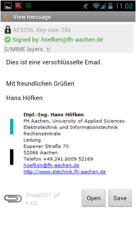 Abbildung 28: Anzeige der entschlüsselten Email