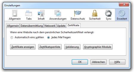 Bild 8: Zertifikatsverwaltung unter Firefox