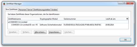 Bild 3: Firefox Zertifikatmanager