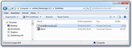Bild 1: Verzeichnis mit Zertifikatsdatei (mit privatem Schlüssel).