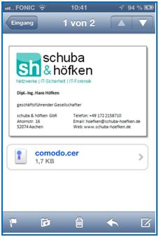 Bild 15: Email mit Comodo Zertifikat im Anhang
