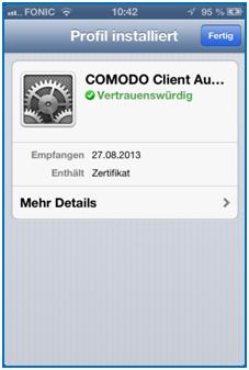 Bild 18: Comodo Zertifikat erfolgreich installiert