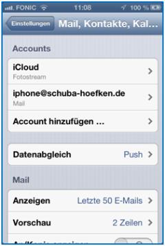 Bild 23: Auswahl des Accounts iphone@schuba-hoefken.de
