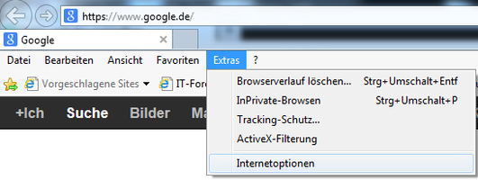 Bild 1: Internet Optionen im Internet Explorer