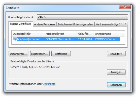 Bild 3: Zertifikatspeicher im Internet Explorer