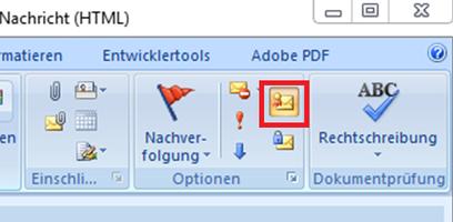 Bild 9: Ausgewählte Signaturoption bei der EMail Erstellung