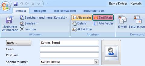 Bild 14: Anzeigen eines Zertifikats im Kontaktordner