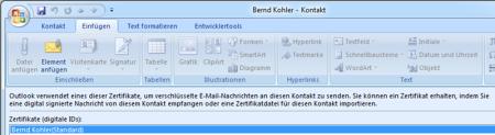Bild 15: Anzeige des Zertifikats eines Outlook-Kontakts