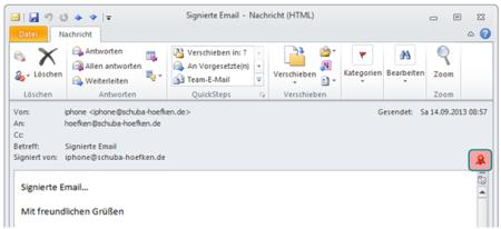 Bild 12. Signatur-Icon bei geöffneter Email