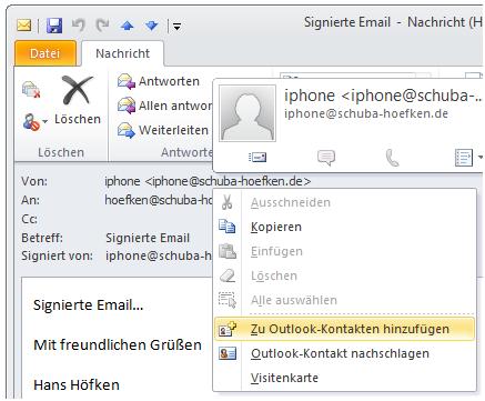 Bild 15: Absender einer signierten Email zu den Kontakten zufügen