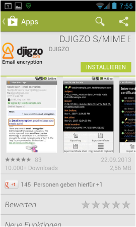 Abbildung 2: Djigzo im Play Store