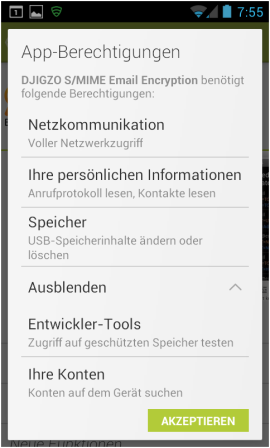 Abbildung 3: App-Berechtigungen