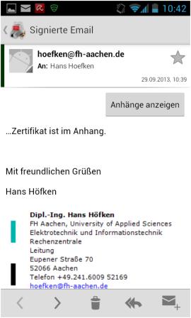 Abbildung 23: Signierte Email geöffnet