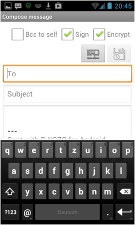 Abbildung 35: Erstellen einer verschlüsselten Email